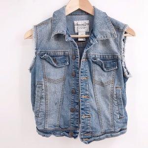 American Rag Sleeveless Distressed Denim Jacket